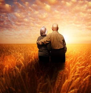 Senior couple standing in a wheat field at sunset
